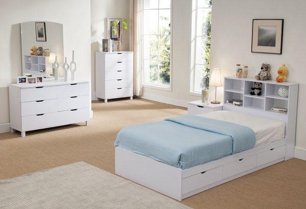 Set Kamar Tidur Anak Putih Laci