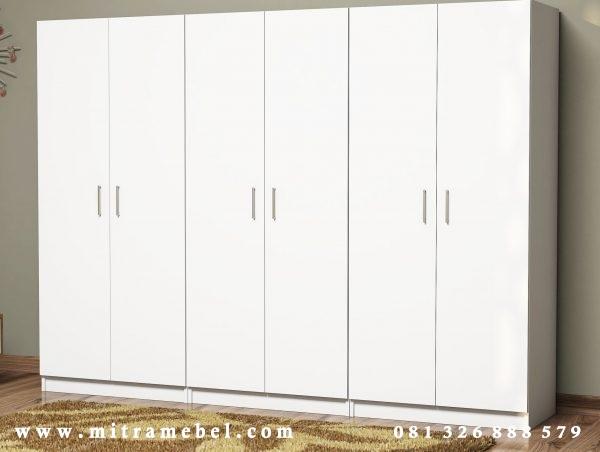 Lemari Pakaian 6 Pintu Minimalis Putih