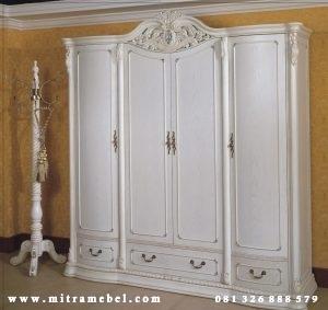 Lemari Pakaian 4 Pintu Putih Ukiran