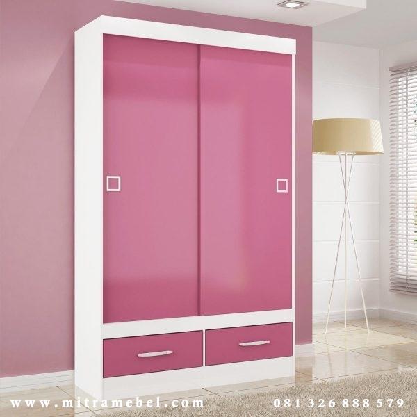 Lemari Pakaian 2 Pintu Sliding Pink