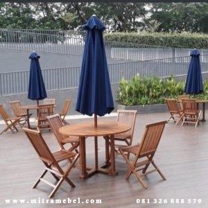 Set Meja Kursi Payung Taman Kayu Jati